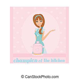 hermoso, cocina, dama