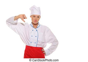 hermoso, cocinero, mujer, dejar insatisfecho