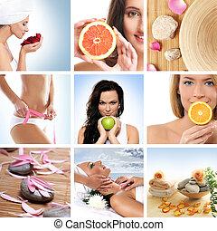 hermoso, collage, sobre, salud, deporte, y, haciendo dieta
