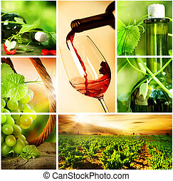 hermoso, collage, vino., uvas