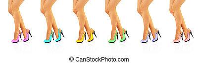 hermoso, color, zapatos de taco alto, piernas, mujeres