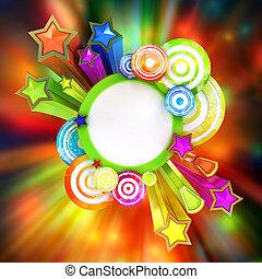 hermoso, coloreado, cartel, rayas, disco, retro, estrellas