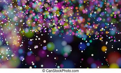 hermoso, colorido, confuso, luces, bokeh, defocused, plano...