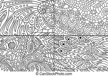hermoso, colorido, resumen, patrones, libro, páginas