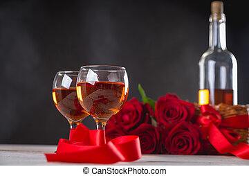 hermoso, composición, de, valentines, llenar, en, fondo...
