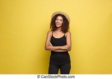 hermoso, concepto, amarillo, cierre, moderno, retrato, ...