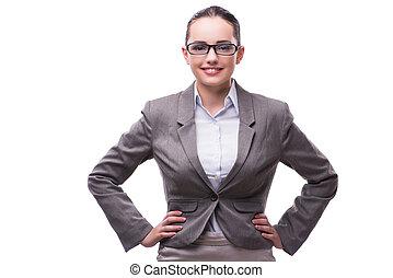 hermoso, concepto, empresa / negocio, mujer de negocios, aislado, elegante