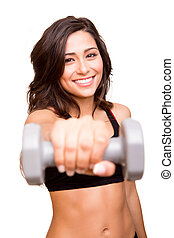 hermoso, condición física, mujer, levantar pesas