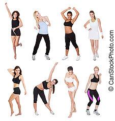 hermoso, condición física, mujeres jóvenes