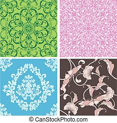 hermoso, conjunto, natural, seamless, diseño, azulejo