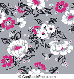 hermoso, conjunto, -, seamless, vector, diseño, plano de fondo, floral, álbum de recortes, su