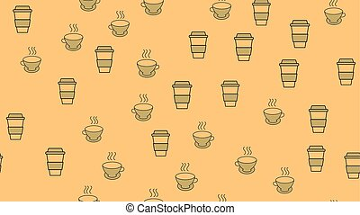 hermoso, conjunto, té, cerámico, papel, sabroso, textura, tazas, bebidas, thermo, patrón, seamless, rápido, fondo., agradable, marrón, café, ilustración, refrescante, vector, comida para llevar, anteojos