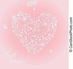 hermoso, corazón, saludo, ahorcadura, de encaje, tarjeta
