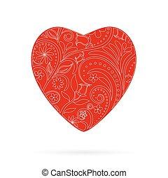 hermoso, corazón, saludo, vector, floral, rojo