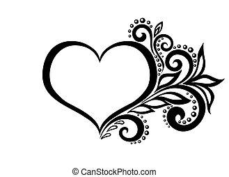 hermoso, corazón, silueta, encaje, leaves., aislado, flores,...
