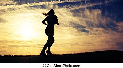 hermoso, corredor, mujer