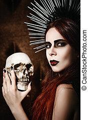 hermoso, cráneo, gótico, tenencia, retrato, niña