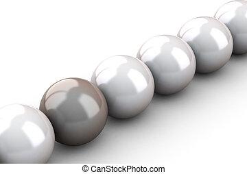 hermoso, cremoso, collar, perla