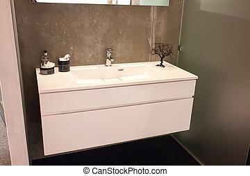 hermoso, cuarto de baño, grande, lujo, nuevo hogar