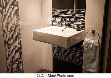 hermoso, cuarto de baño, moderno, lujo, nuevo hogar