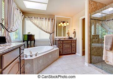 hermoso, cuarto de baño, tono, luz, malva, interior