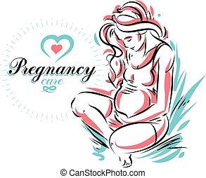 hermoso, cuerpo, contorno, illustration., futura madre,...