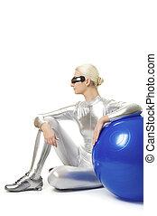 hermoso, cyber, mujer se relajar, después, ejercicio salud