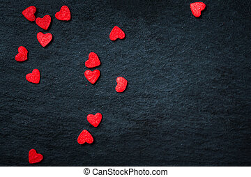 hermoso, día de valentines, plano de fondo, con, rojo, corazones