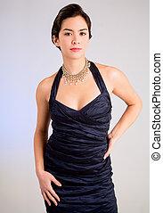 hermoso, dama joven, de, asiático, bajada, en, un, vestido...