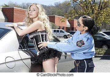 hermoso, dama, mujer policía, detenido
