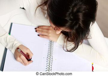 hermoso, deberes, joven, ella, estudiante