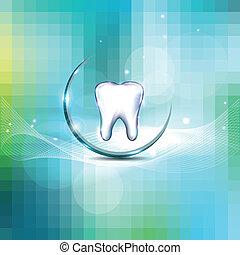 hermoso, dental, diseño, cubierta