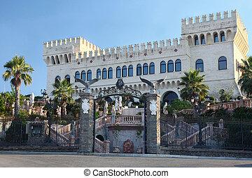 hermoso, desfile, palacio, torres, dos, grande, rico,...