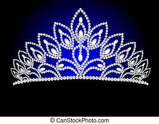 hermoso, diadema, femenino, boda, con, perla