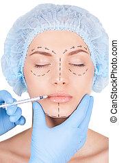 hermoso, dibujos, ojos, mujer, mantener, headwear, lips., médico, joven, mano, labios, mientras, cara, cerrado, doctors, elaboración, inyección, botox