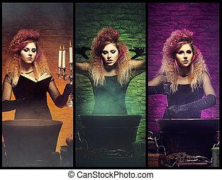 hermoso, diferente, joven, fotos, bruja, mujeres