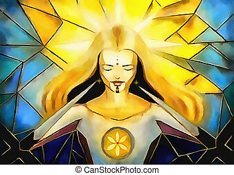 hermoso, diosa, cruces, luz, dorns, estilo de vida,...