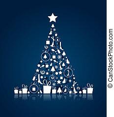 hermoso, diseño, árbol, su, navidad