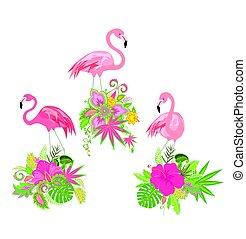 hermoso, diseño floral, con, flores exóticas, y, flamenco...