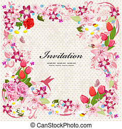 hermoso, diseño floral, invitación, tarjeta