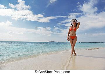 hermoso, diversión, playa, gril, tener