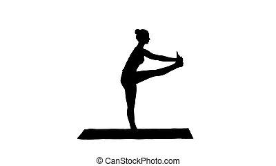 hermoso, doblando, mujer, silueta, ataque, ejercicio, padangusthasana, joven, variación, hasta, ropa de deporte, utthita, deporte, dandayamana-janushirasana.