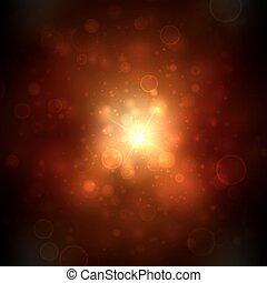 hermoso, dorado, brightness., luces, muchos, resumen, confuso, fondo., brillante, vector, plano de fondo