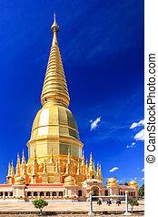 hermoso, dorado, cielo azul, profundo, pagoda, debajo