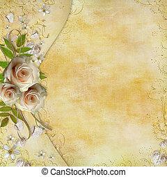 hermoso, dorado, cinta, rosas, hojas, saludo, papel,...