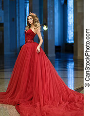 hermoso, dorado, grande, mujer, corona, largo, vestido,...