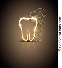 hermoso, dorado, ilustración, diente