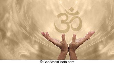 hermoso, dorado, om, curación, energía