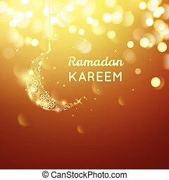 hermoso, dorado, oro, luna, ramadan, saludo, bokeh, plano de...