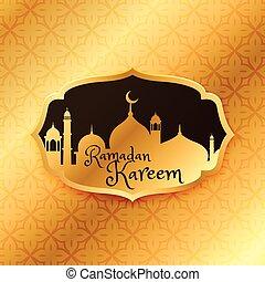 hermoso, dorado, patrón, mezquita, ramadan, saludo, kareem